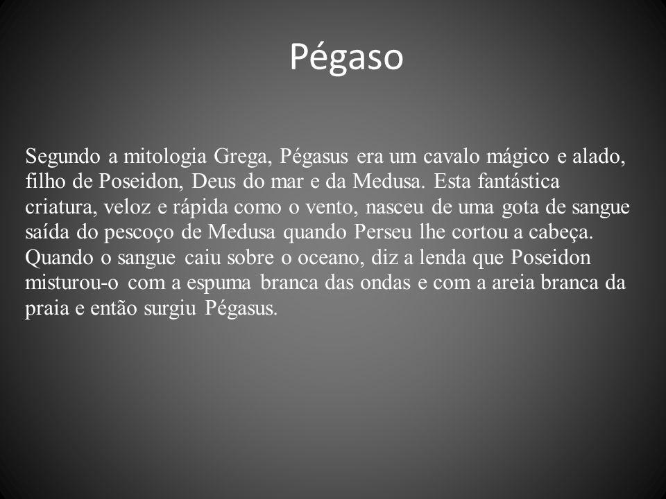 Segundo a mitologia Grega, Pégasus era um cavalo mágico e alado, filho de Poseidon, Deus do mar e da Medusa.