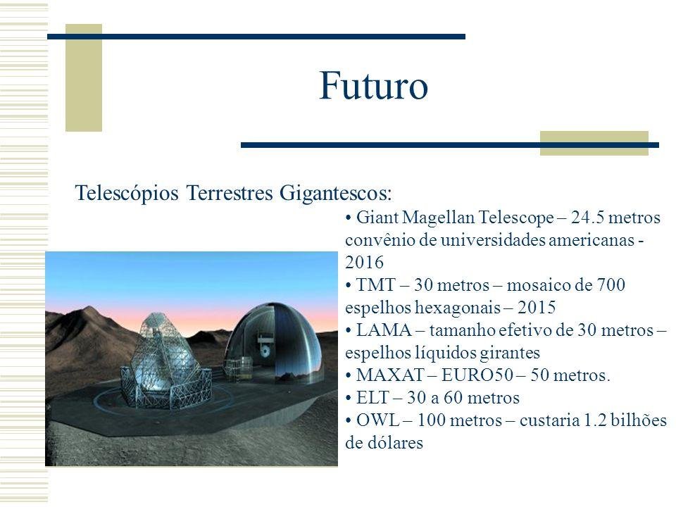 Futuro Telescópios Terrestres Gigantescos: Giant Magellan Telescope – 24.5 metros convênio de universidades americanas - 2016 TMT – 30 metros – mosaic