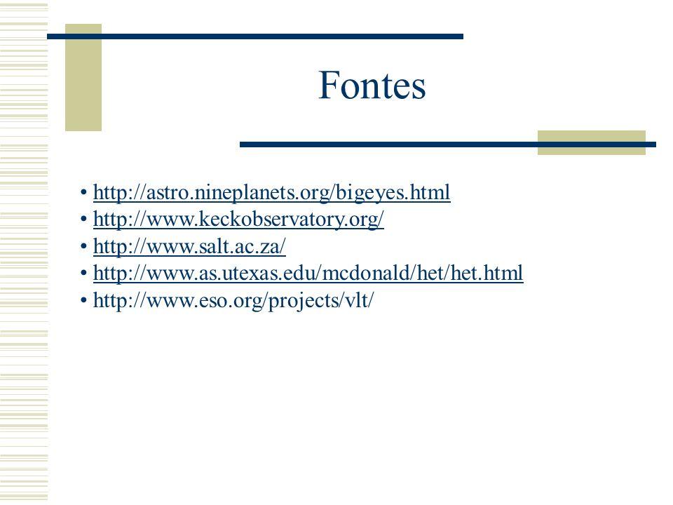 Fontes http://astro.nineplanets.org/bigeyes.html http://www.keckobservatory.org/ http://www.salt.ac.za/ http://www.as.utexas.edu/mcdonald/het/het.html
