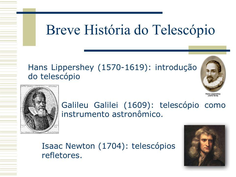 Breve História do Telescópio Hans Lippershey (1570-1619): introdução do telescópio Galileu Galilei (1609): telescópio como instrumento astronômico. Is