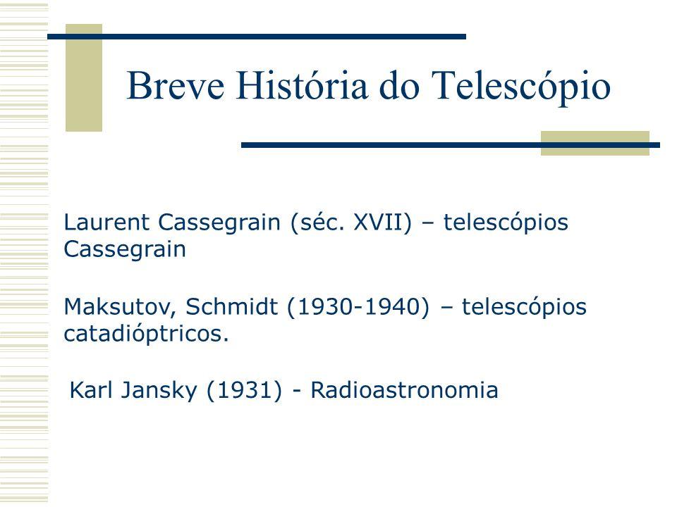Breve História do Telescópio Karl Jansky (1931) - Radioastronomia Maksutov, Schmidt (1930-1940) – telescópios catadióptricos. Laurent Cassegrain (séc.