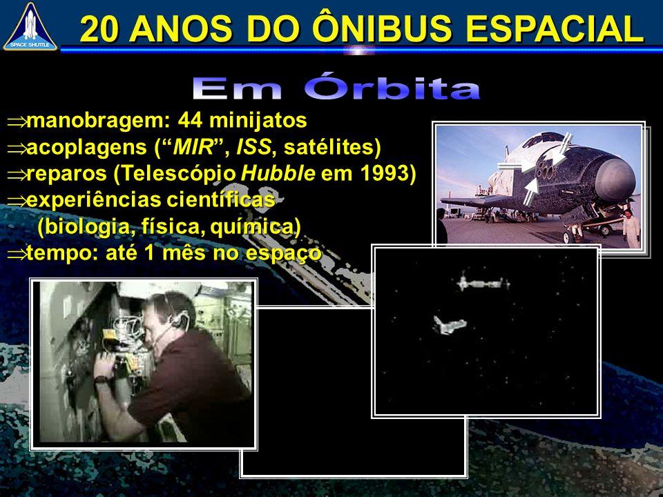 manobragem: 44 minijatos manobragem: 44 minijatos acoplagens (MIR, ISS, satélites) acoplagens (MIR, ISS, satélites) reparos (Telescópio Hubble em 1993