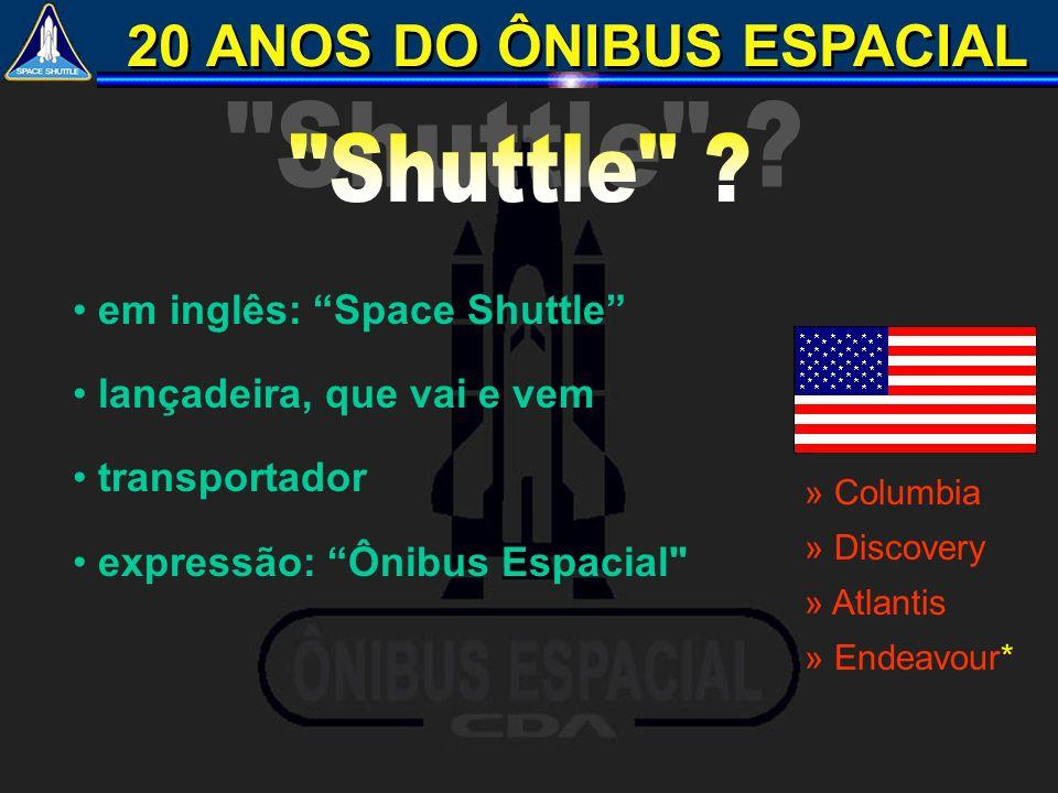 20 ANOS DO ÔNIBUS ESPACIAL em inglês: Space Shuttle lançadeira, que vai e vem transportador expressão: Ônibus Espacial