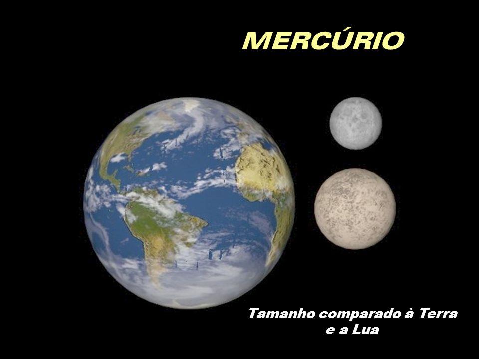 MERCÚRIO Tamanho comparado à Terra e a Lua
