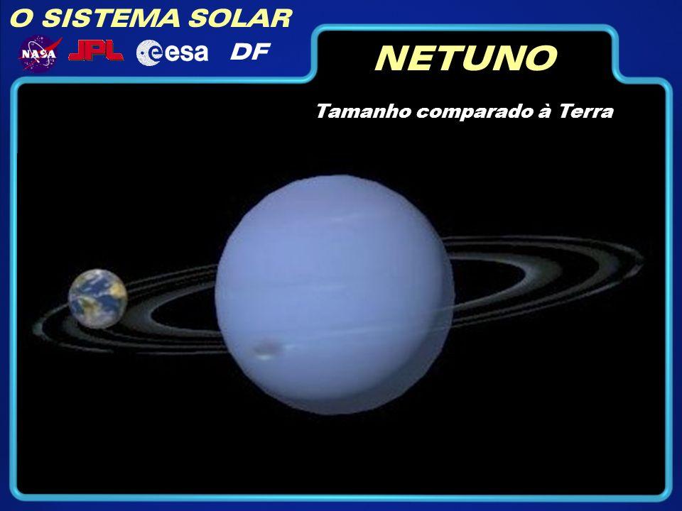 O SISTEMA SOLAR DF NETUNO Rotação (dia): 16h11m Diâmetro: (km): 49492 Temperatura: -193 °C Gravidade: 11 m/seg^2 Translação (ano): 164 anos Composição