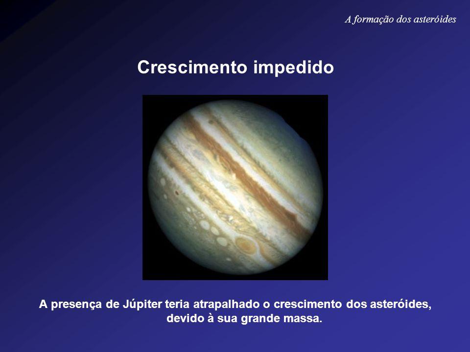 Crescimento impedido A presença de Júpiter teria atrapalhado o crescimento dos asteróides, devido à sua grande massa. A formação dos asteróides