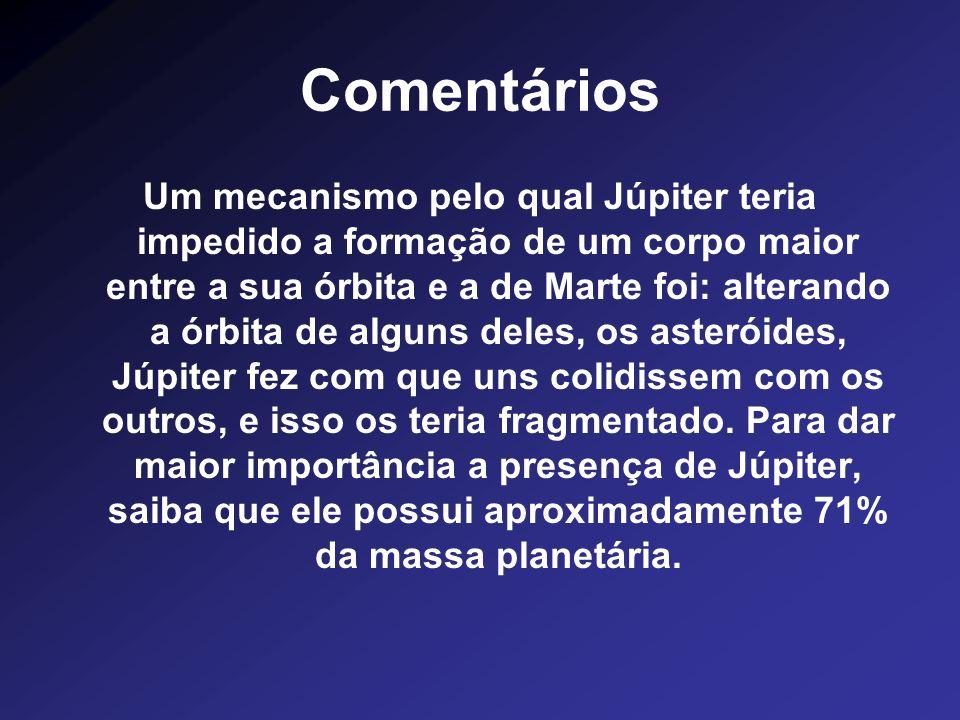 Comentários Um mecanismo pelo qual Júpiter teria impedido a formação de um corpo maior entre a sua órbita e a de Marte foi: alterando a órbita de algu