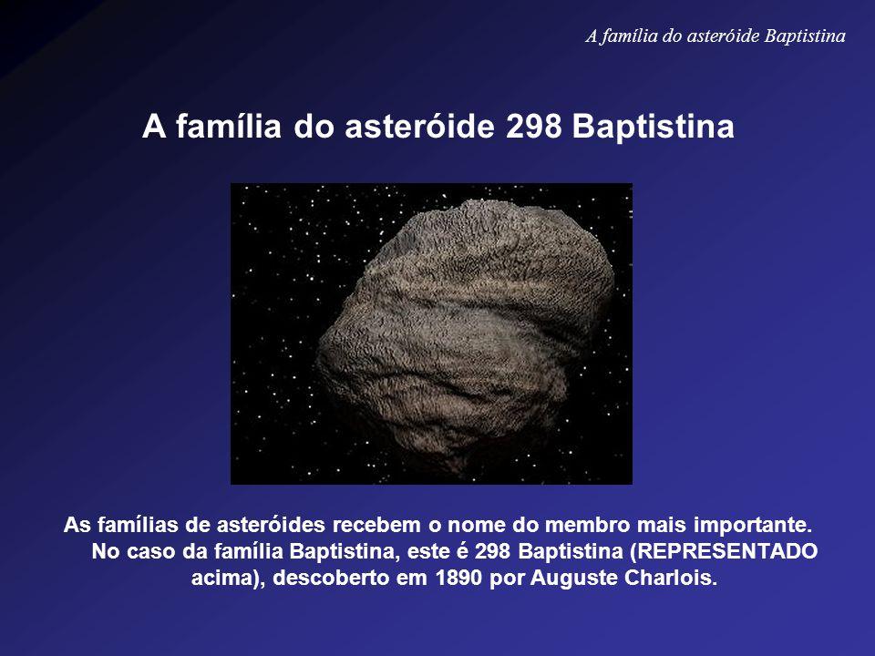 A família do asteróide 298 Baptistina As famílias de asteróides recebem o nome do membro mais importante. No caso da família Baptistina, este é 298 Ba