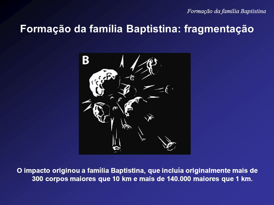O impacto originou a família Baptistina, que incluía originalmente mais de 300 corpos maiores que 10 km e mais de 140.000 maiores que 1 km. Formação d