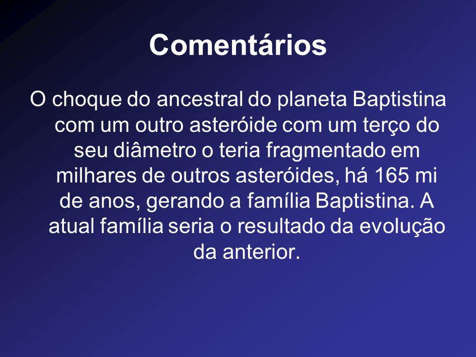 Comentários O choque do ancestral do planeta Baptistina com um outro asteróide com um terço do seu diâmetro o teria fragmentado em milhares de outros
