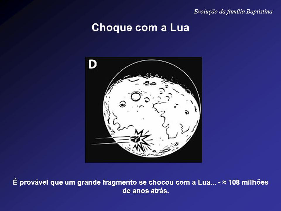 É provável que um grande fragmento se chocou com a Lua... - 108 milhões de anos atrás. Evolução da família Baptistina Choque com a Lua