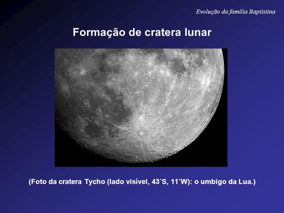 (Foto da cratera Tycho (lado visível, 43˚S, 11˚W): o umbigo da Lua.) Evolução da família Baptistina Formação de cratera lunar