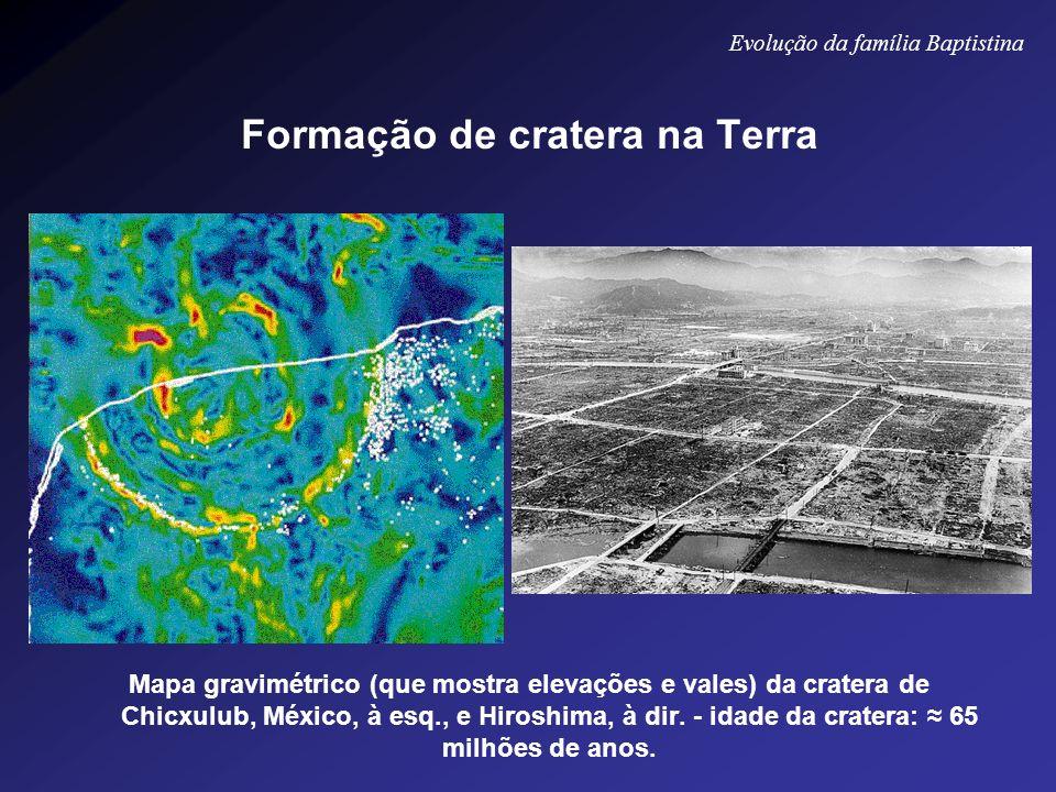 Formação de cratera na Terra Mapa gravimétrico (que mostra elevações e vales) da cratera de Chicxulub, México, à esq., e Hiroshima, à dir. - idade da