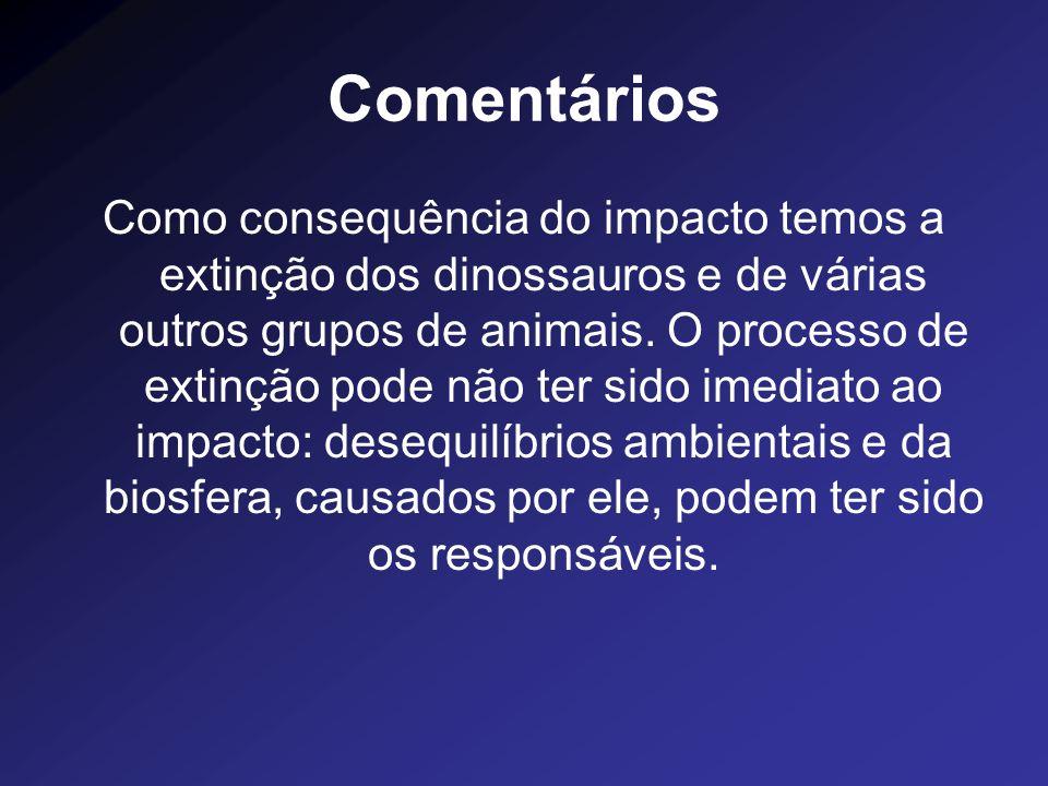 Comentários Como consequência do impacto temos a extinção dos dinossauros e de várias outros grupos de animais. O processo de extinção pode não ter si