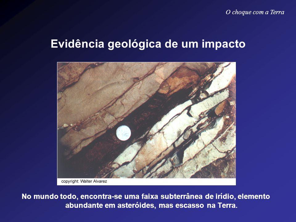 Evidência geológica de um impacto No mundo todo, encontra-se uma faixa subterrânea de irídio, elemento abundante em asteróides, mas escasso na Terra.