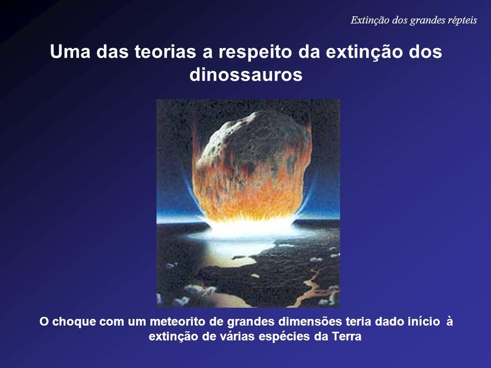 Uma das teorias a respeito da extinção dos dinossauros O choque com um meteorito de grandes dimensões teria dado início à extinção de várias espécies