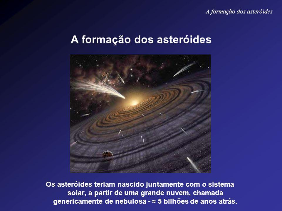 A formação dos asteróides Os asteróides teriam nascido juntamente com o sistema solar, a partir de uma grande nuvem, chamada genericamente de nebulosa