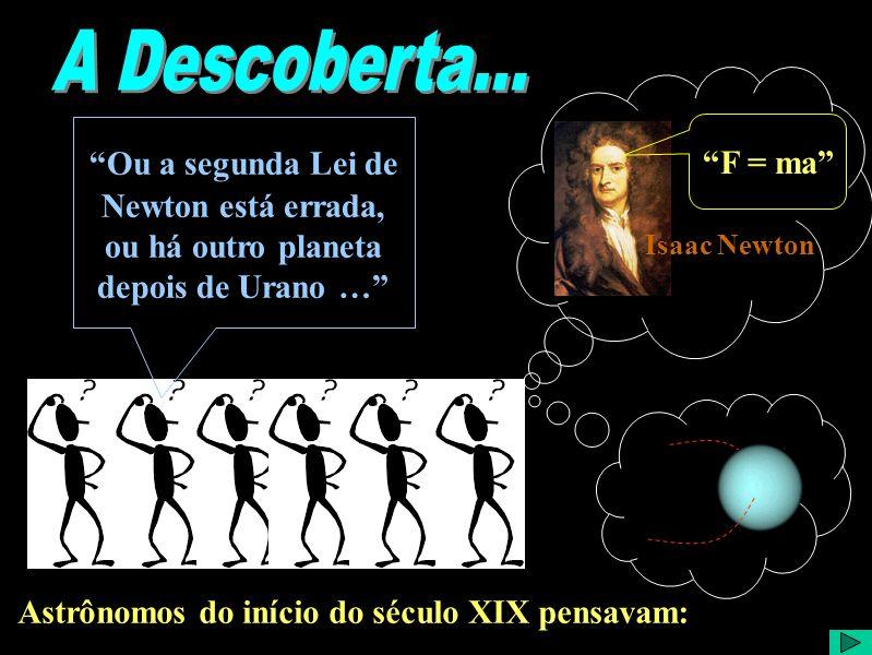 Astrônomos do início do século XIX pensavam: Isaac Newton Ou a segunda Lei de Newton está errada, ou há outro planeta depois de Urano … F = ma