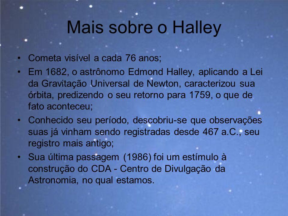 Mais sobre o Halley Cometa visível a cada 76 anos; Em 1682, o astrônomo Edmond Halley, aplicando a Lei da Gravitação Universal de Newton, caracterizou