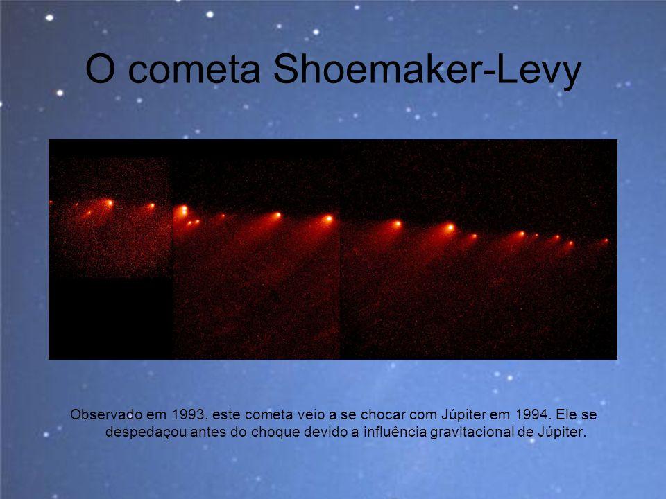 O cometa Shoemaker-Levy Observado em 1993, este cometa veio a se chocar com Júpiter em 1994. Ele se despedaçou antes do choque devido a influência gra
