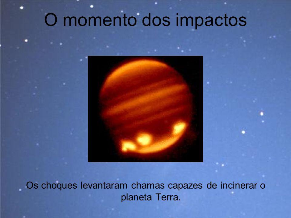 O momento dos impactos Os choques levantaram chamas capazes de incinerar o planeta Terra.