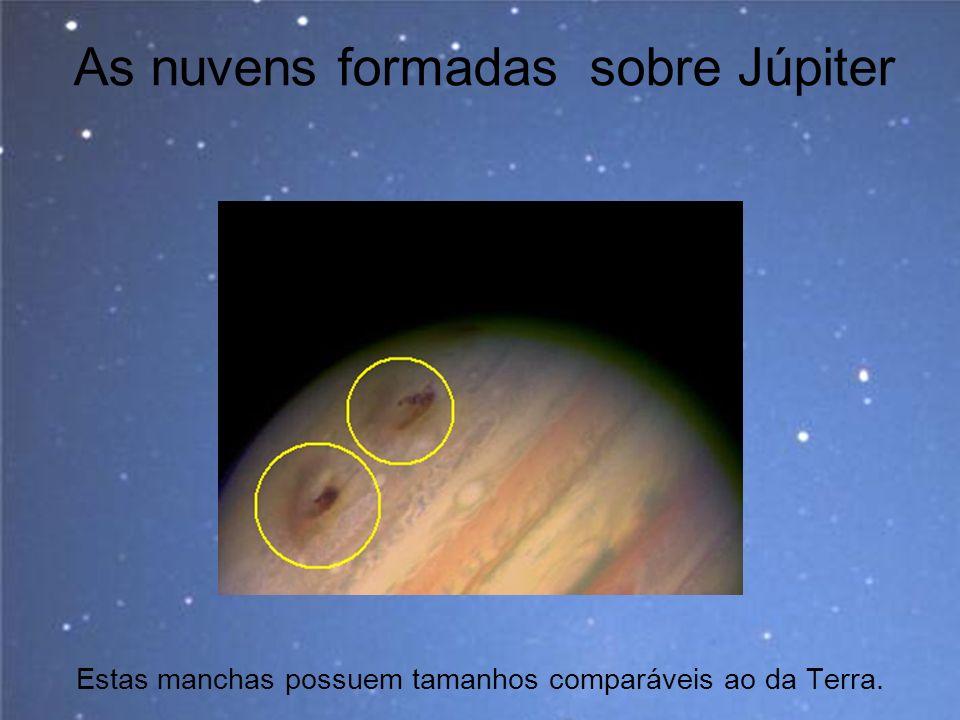 As nuvens formadas sobre Júpiter Estas manchas possuem tamanhos comparáveis ao da Terra.