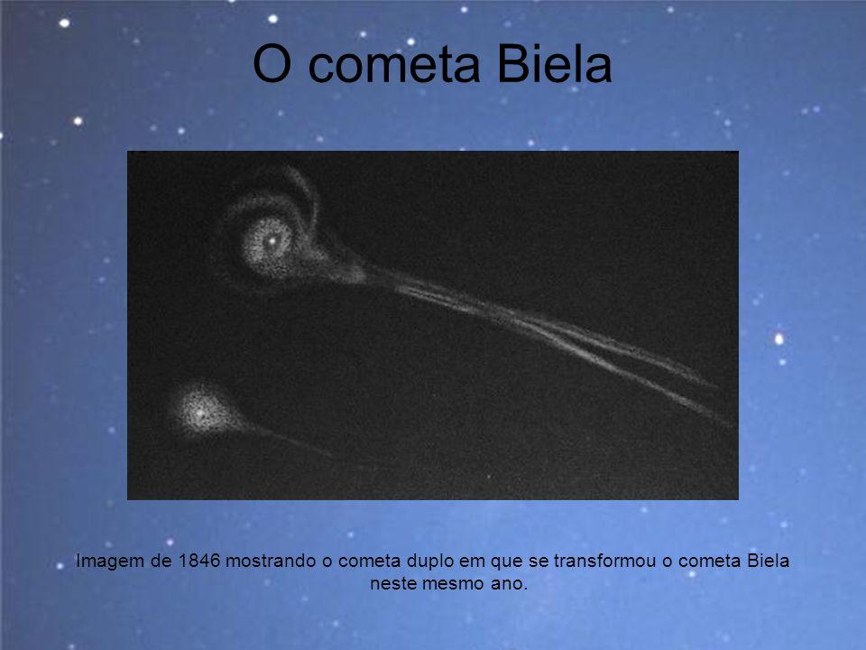 O cometa Biela Imagem de 1846 mostrando o cometa duplo em que se transformou o cometa Biela neste mesmo ano.