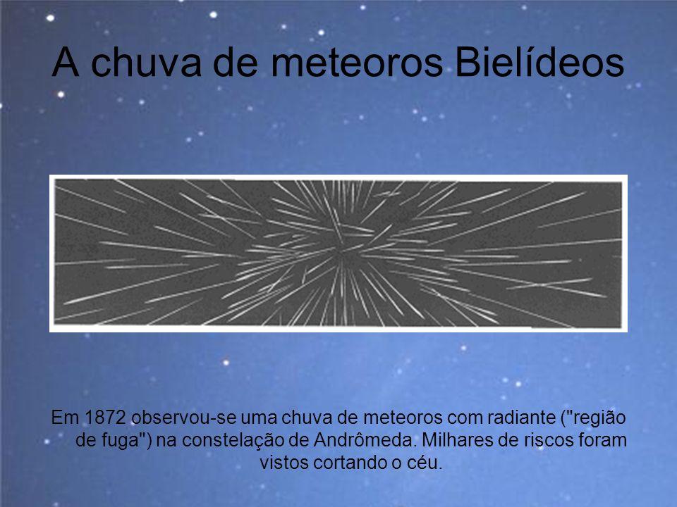 A chuva de meteoros Bielídeos Em 1872 observou-se uma chuva de meteoros com radiante (