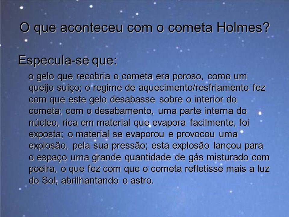 O que aconteceu com o cometa Holmes? Especula-se que: o gelo que recobria o cometa era poroso, como um queijo suiço; o regime de aquecimento/resfriame