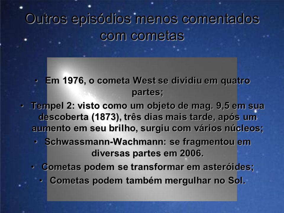 Outros episódios menos comentados com cometas Em 1976, o cometa West se dividiu em quatro partes;Em 1976, o cometa West se dividiu em quatro partes; T