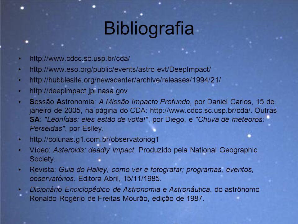 Bibliografia http://www.cdcc.sc.usp.br/cda/ http://www.eso.org/public/events/astro-evt/DeepImpact/ http://hubblesite.org/newscenter/archive/releases/1