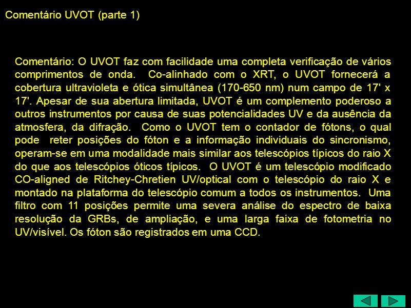 Comentário UVOT (parte 1) Comentário: O UVOT faz com facilidade uma completa verificação de vários comprimentos de onda.