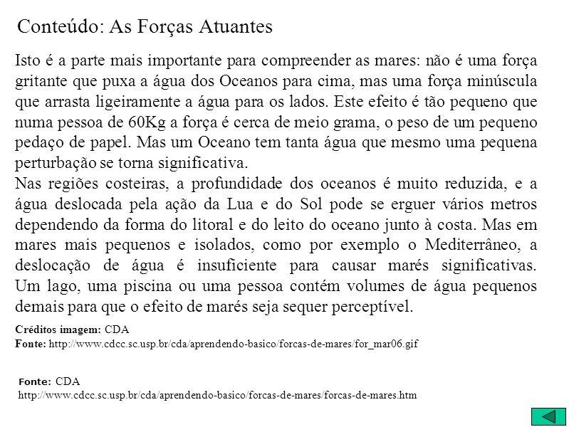 Conteúdo: As Forças Atuantes Isto é a parte mais importante para compreender as mares: não é uma força gritante que puxa a água dos Oceanos para cima,