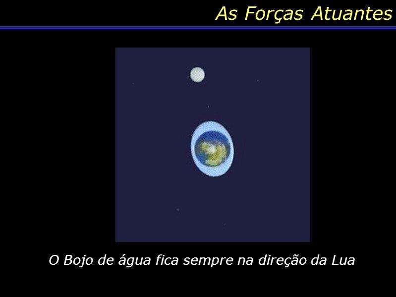 As Forças Atuantes O Bojo de água fica sempre na direção da Lua