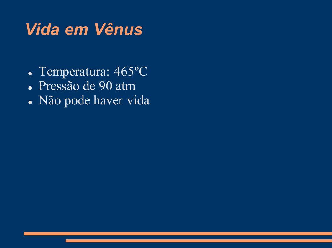 Vida em Vênus Temperatura: 465ºC Pressão de 90 atm Não pode haver vida