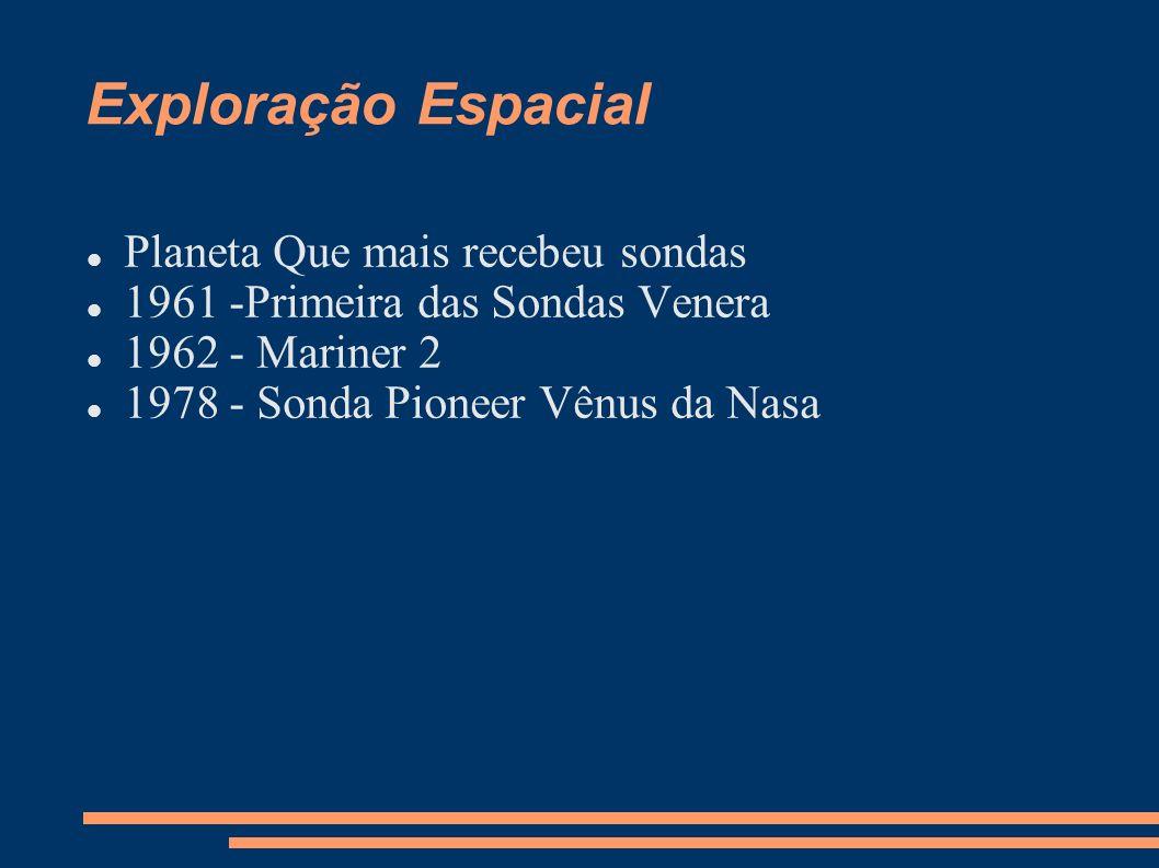 Exploração Espacial Planeta Que mais recebeu sondas 1961 -Primeira das Sondas Venera 1962 - Mariner 2 1978 - Sonda Pioneer Vênus da Nasa