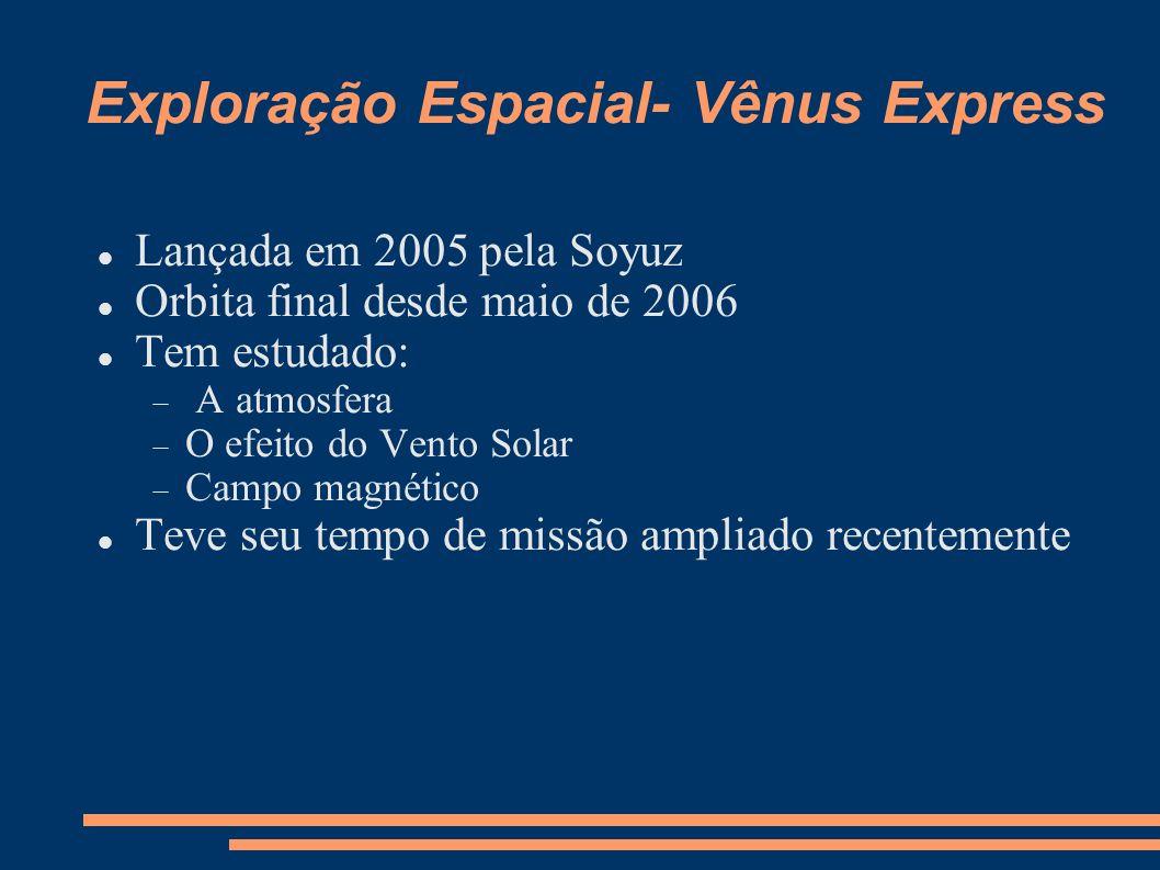 Exploração Espacial- Vênus Express Lançada em 2005 pela Soyuz Orbita final desde maio de 2006 Tem estudado: A atmosfera O efeito do Vento Solar Campo