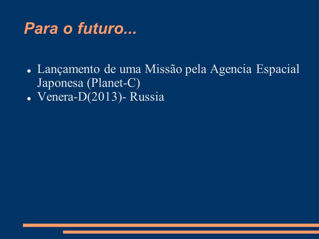 Para o futuro... Lançamento de uma Missão pela Agencia Espacial Japonesa (Planet-C) Venera-D(2013)- Russia