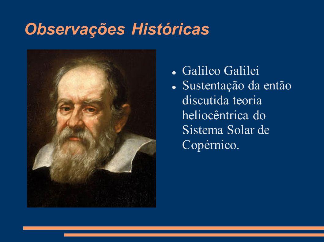 Observações Históricas Galileo Galilei Sustentação da então discutida teoria heliocêntrica do Sistema Solar de Copérnico.