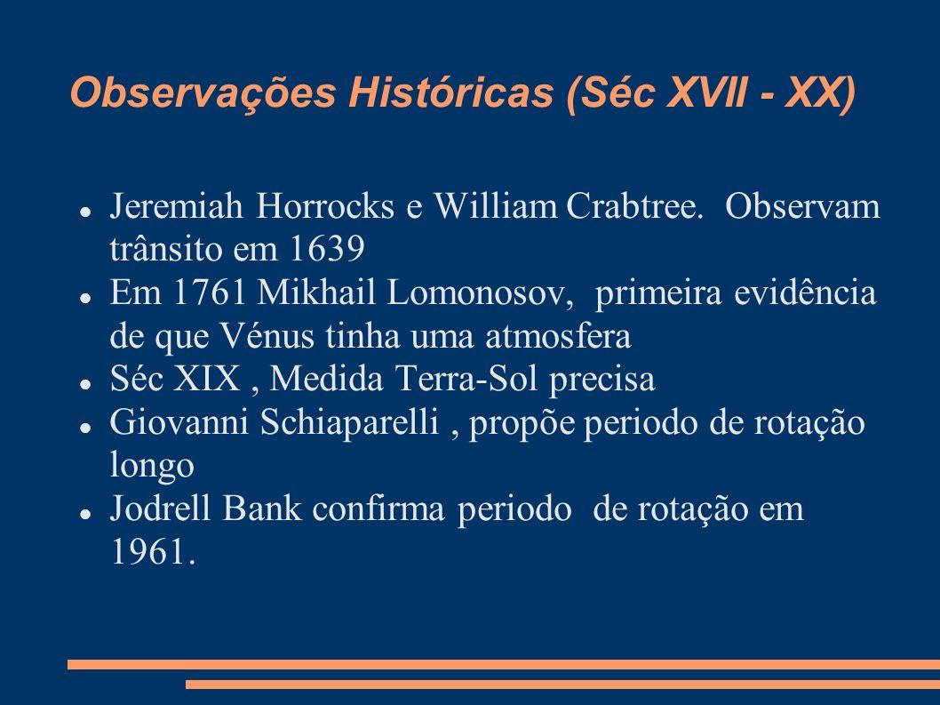Observações Históricas (Séc XVII - XX) Jeremiah Horrocks e William Crabtree. Observam trânsito em 1639 Em 1761 Mikhail Lomonosov, primeira evidência d