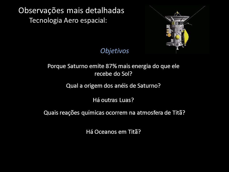 Observações mais detalhadas Tecnologia Aero espacial: Objetivos Qual a origem dos anéis de Saturno? Há outras Luas? Quais reações químicas ocorrem na
