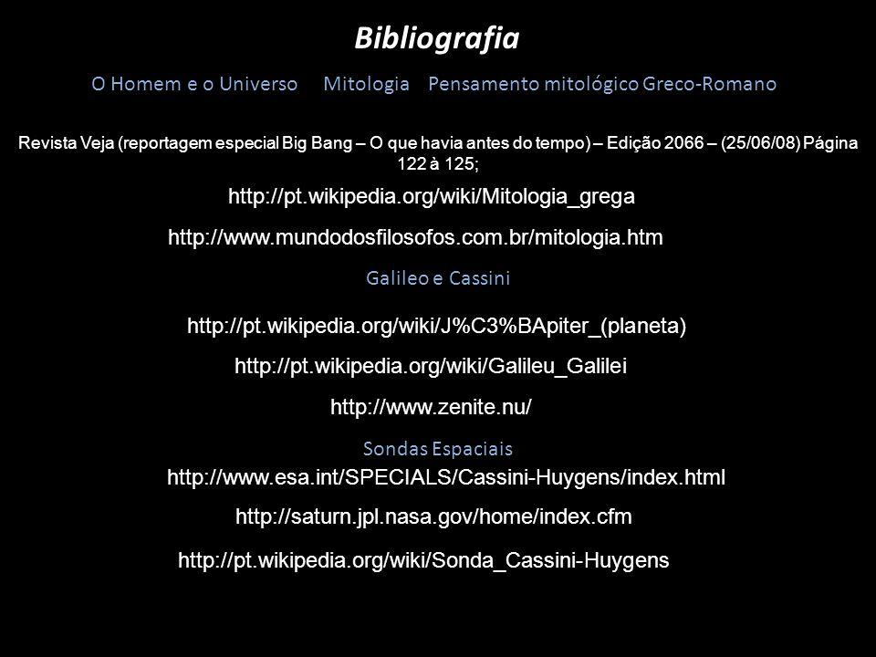 Bibliografia O Homem e o Universo Mitologia Pensamento mitológico Greco-Romano http://pt.wikipedia.org/wiki/Mitologia_grega http://www.mundodosfilosof