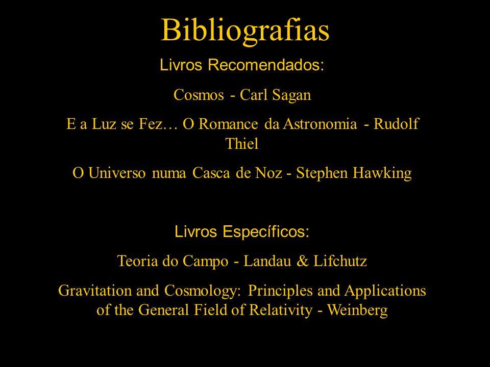 Bibliografias Livros Recomendados: Cosmos - Carl Sagan E a Luz se Fez… O Romance da Astronomia - Rudolf Thiel O Universo numa Casca de Noz - Stephen H