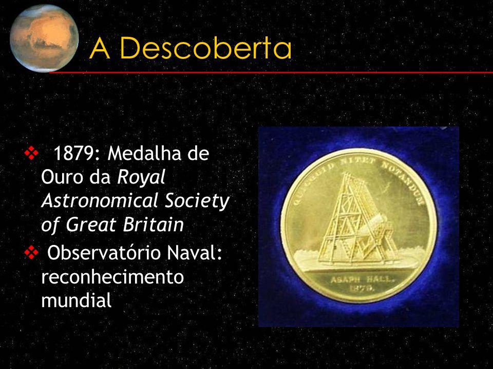A Descoberta 1879: Medalha de Ouro da Royal Astronomical Society of Great Britain Observatório Naval: reconhecimento mundial