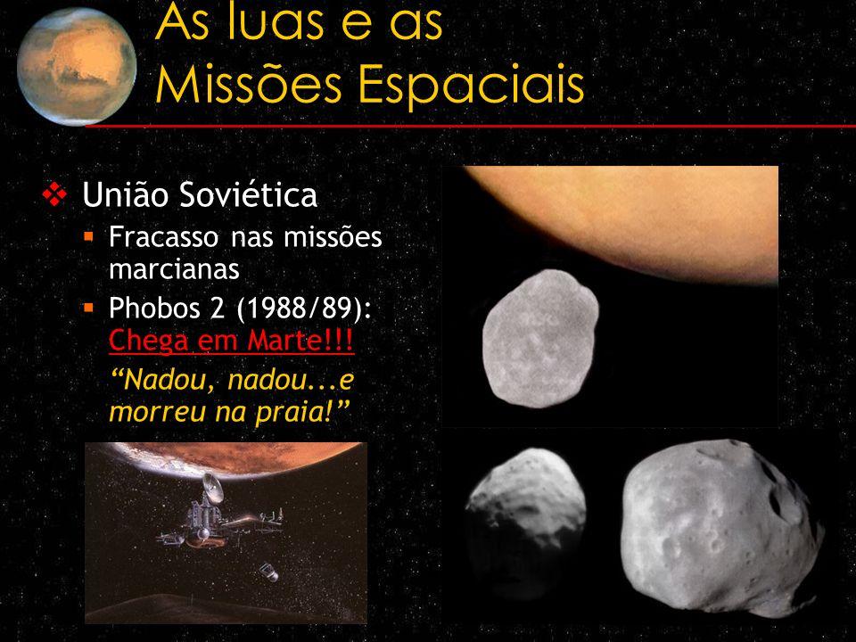 As luas e as Missões Espaciais União Soviética Fracasso nas missões marcianas Phobos 2 (1988/89): Chega em Marte!!! Nadou, nadou...e morreu na praia!