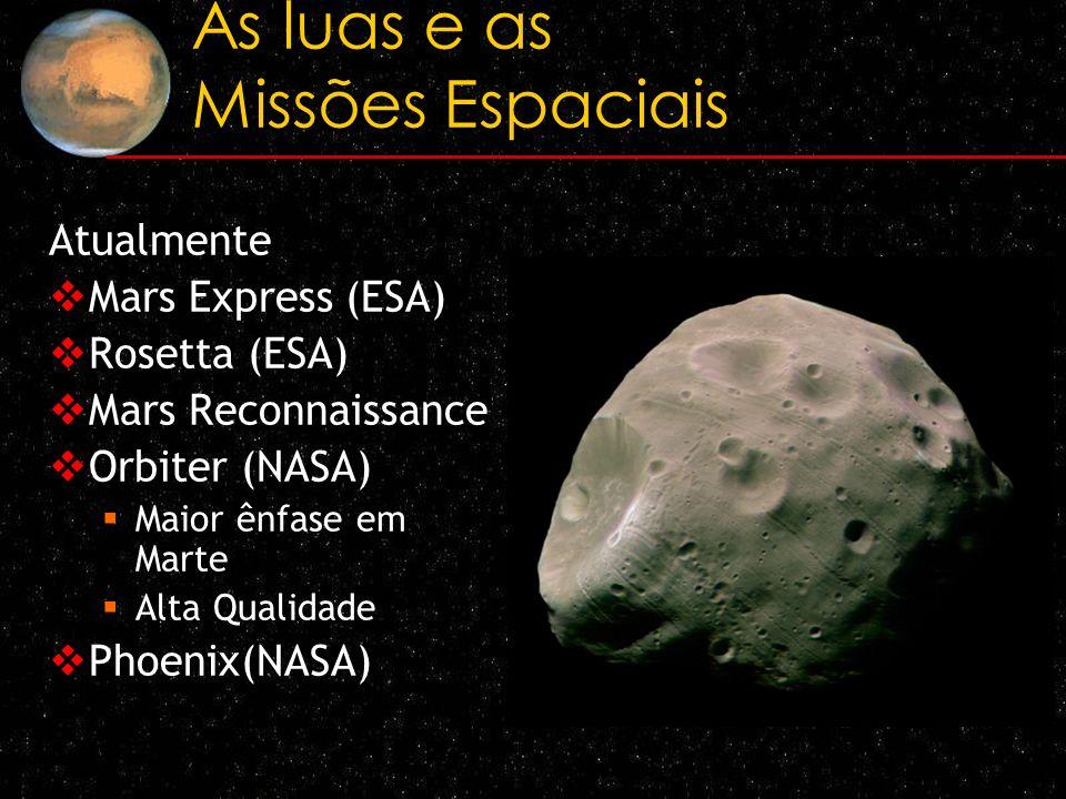 As luas e as Missões Espaciais Atualmente Mars Express (ESA) Rosetta (ESA) Mars Reconnaissance Orbiter (NASA) Maior ênfase em Marte Alta Qualidade Pho