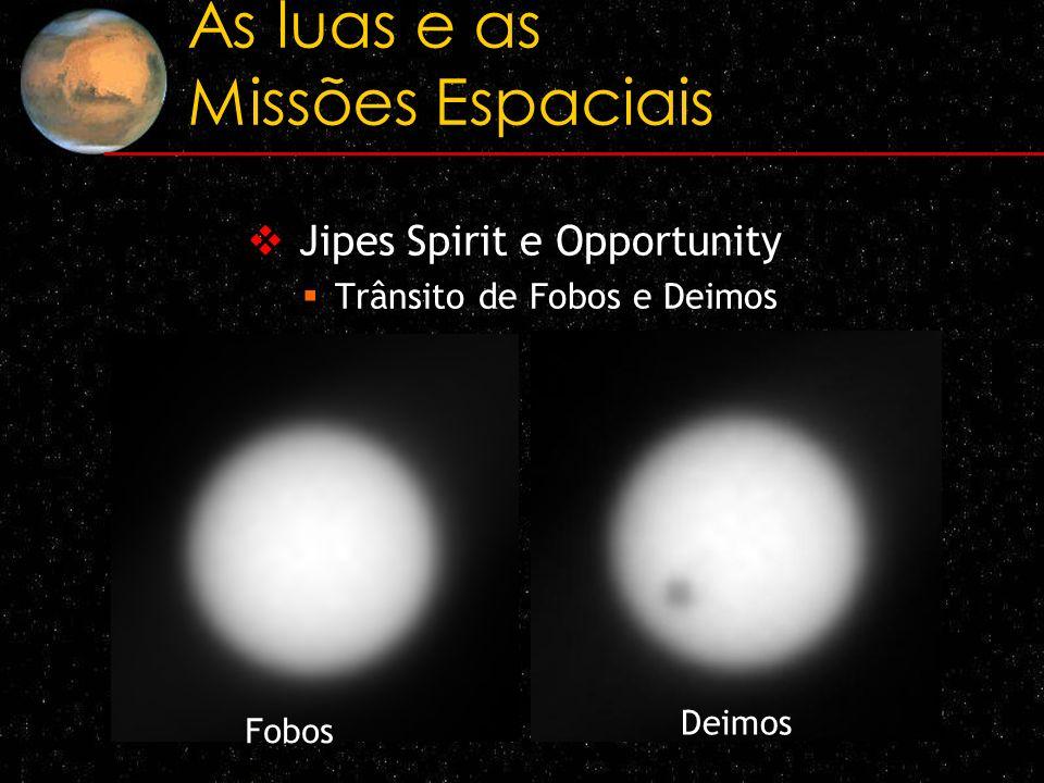 As luas e as Missões Espaciais Jipes Spirit e Opportunity Trânsito de Fobos e Deimos Fobos Deimos