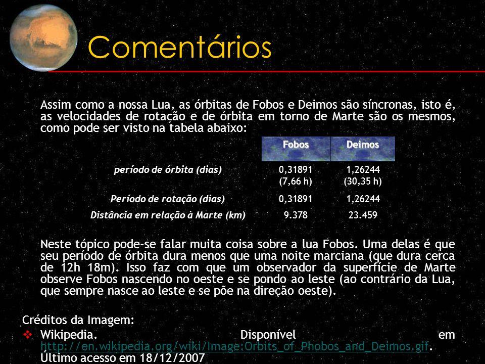 Comentários Assim como a nossa Lua, as órbitas de Fobos e Deimos são síncronas, isto é, as velocidades de rotação e de órbita em torno de Marte são os