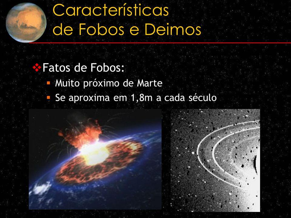 Características de Fobos e Deimos Fatos de Fobos: Muito próximo de Marte Se aproxima em 1,8m a cada século