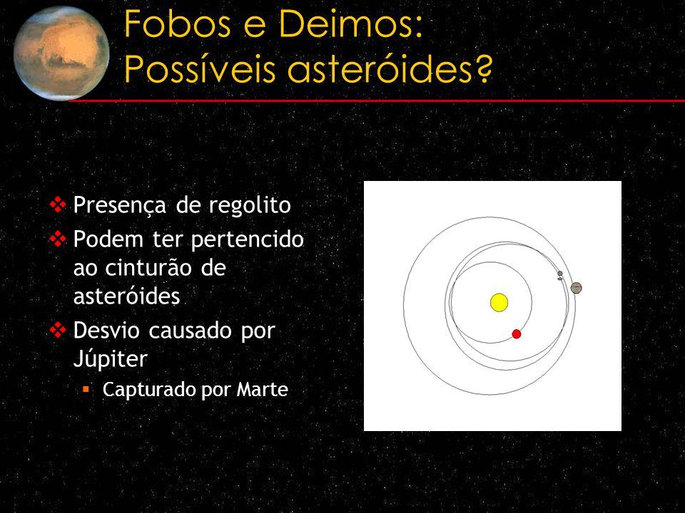 Fobos e Deimos: Possíveis asteróides? Presença de regolito Podem ter pertencido ao cinturão de asteróides Desvio causado por Júpiter Capturado por Mar